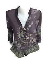 Citron Santa Monica Womens Silk Georgette Blend Floral Purple Gray Blouse PXS