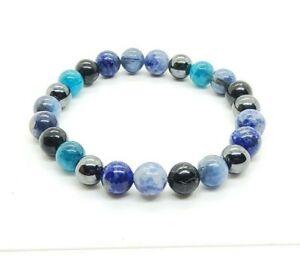 Thyroid Throat Chakra gemstone healing Bracelet Kyanite, Lapis Lazuli, Iolite,