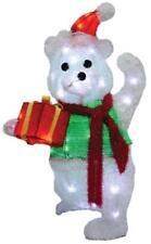LIGHTED TEDDY BEAR GIFT OUTDOOR CHRISTMAS Yard Decoration HOLIDAY DISPLAY PRELIT