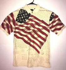 Cotton Traders Sport Mens American Flag Polo Shirt S/S Tee Size MEDIUM - EUC