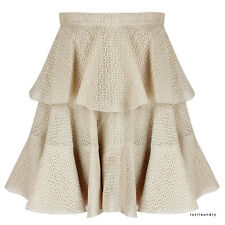 Alexander McQueen Elegant Nude Tiered Lace Circular Skater Skirt IT42 UK10