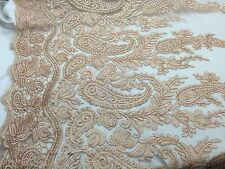 Lt.Copper Paisley Flower Design Embroider On A Mesh Lace.Wedding/nightgown/prom.