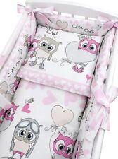 6-teilig Baby Bettwäsche für Wiege Eulen Pink Nestchen Decke Kissen Baumwolle