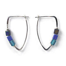 Jody Coyote Earrings JC0175 Heritage Collection HER-0113-04 silver hoop blue