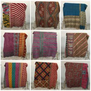 Indian Handmade Vintage Quilt Kantha Bedspread Throw Cotton Blanket Ralli Gudari