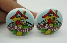 2 Mary Engelbreit Home Sweeet Home Ceramic Drawer Pulls Cabinet Knobs Screws J