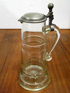 Bierkrug Abrissglas mit Zinndeckel  groß