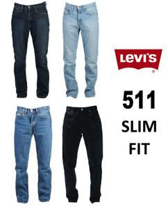Genuine LEVIS MENS 511 Slim Fit Levi Original Jeans Blue Black Denim