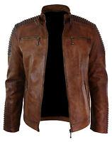 Men's Biker Vintage Style Cafe Racer Wax Distressed Brown Leather Jacket BNWT