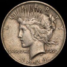 1924 $1 US 90% Silver Peace Dollar - VAM-1O Die Gouge - EXTRA FINE (EF)