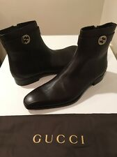 New Gucci Mens Brown Leather  Boots GG Metal Logo UK SZ 15 /US SZ 15.5 ❤️