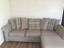Scatter cushion L shape DFS sofa - Beige and tartan 4 seater sofa