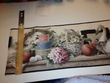 Swan Floral Apple Hatbox Basket On Shelf Prepasted Wallpaper Border # 5810598