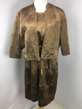 Vtg 1940's Helen of Memphis Silk Metallic Brocade Flower Asian Dress Bolero Belt