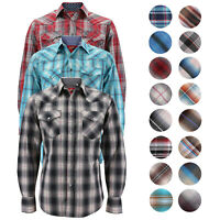 Men's Authentic Rodeo Cowboy Plaid Pearl Snap Button Up Western Dress Shirt