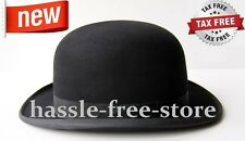 Traditional Black Derby Hat Bowler Bob Felt Fashion Style Men Gentleman Costume