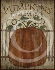 Primitive Fall Autumn Pumpkin Pumpkins for sale Harvest Print 8x10