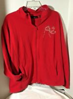 Trilllogy Womens Embellished  Red Zip Jacket Christmas/Holidays/Winter XL