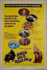 1974 BIRDS DO IT BEES DO IT 1SH ORIGINAL ANIMAL MOVIE POSTER CHIMPANZEE