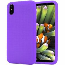 FOR APPLE IPHONE X 10 | PURPLE SILICONE GEL RUBBER SKIN CASE COVER