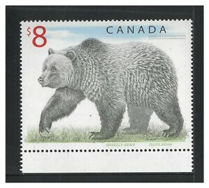 Canada 1997 $8 Stamp Grizzly Bear SG 1762b (Scott 1694) Mint Unhinged 6-28
