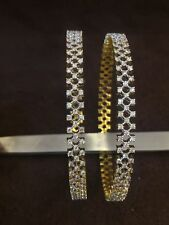 5.75 Cts Round Brilliant Cut Natural Diamonds Bangles In Solid Hallmark 14K Gold