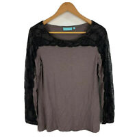 Blue Illusion Womens Top Size XS Brown Long Sleeve Round Neck Lace Trim