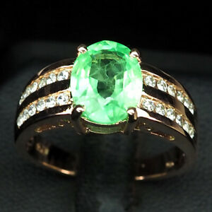 EMERALD GREEN OVAL 4.50 CT. SAPP 925 STERLING SILVER ROSE GOLD RING SZ 9.75 GIFT