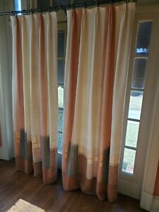 Pair Maria Kipp MCM Designer Textile Handwoven Cityscape Curtians