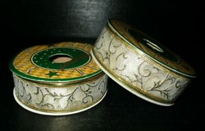 """2 SPOOLS 1"""" x 6 yds  WHITE ORGANZA with GOLD WIRED RIBBON"""