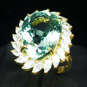 AQUAMARINE BLUE GREEN PEAR 14.20 CT. SAPP 925 STERLING SILVER GOLD RING SZ 6.5