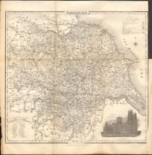 Hand Coloured Moule C1840 Easy To Use Yorkshire East Riding Antique County Map Railways