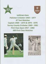 INTIKHAB ALAM SURREY & PAKISTAN TEST CRICKETER 1959-1977 ORIGINAL HAND SIGNED
