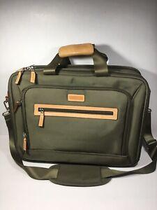 LEVENGER Leather & Canvas Laptop Carry On Briefcase Travel Bag Men's