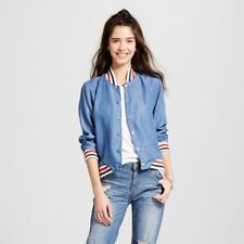 New Retro Sporty Women's Mossimo Blue Denim Varsity Style Bomber Jacket XXL