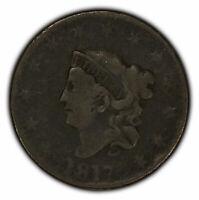 1817 1c Coronet Head Large Cent - Mid-Grade Detail - SKU-Y2298