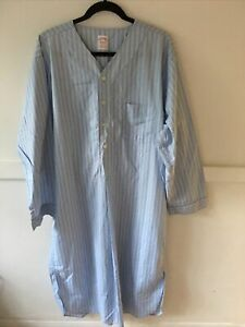 Brooks Brothers Night Shirt Large Blue Stripe Wrinkle Resistant Cotton Classic