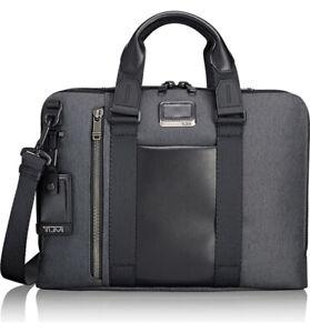 "New Unisex TUMI Alpha Bravo Aviano 15"" Laptop Slim Brief Briefcase Bag Graphite"