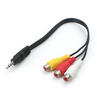 3.5mm Audio Video Cable Mini AV Male To 3RCA Female Stereo Jack Adapter Cord UK