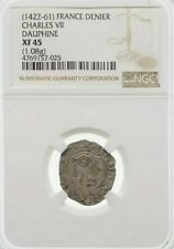 Charles VII as Dauphine, 1422-61, Silver Denier. France. NGC XF45
