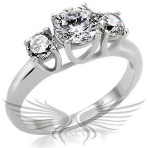 2c ROUND SOLITAIRE 3 STONE RUSSIAN LAB CREATED SIM DIAMOND ENGAGEMENT RING TK004