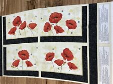 Scarlet Dance Poppies Cotton set of 4 Placemats Fabric Panel Wilmington