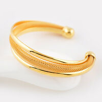 Women's Open Bangle 24K Yellow Gold Filled Bracelet Lovely gift Fashion Jewelry