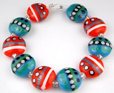 4 Lampwork Glass Green Black Spider 18x17mm Coin Beads *