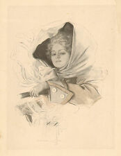 Harrison Fisher, Pretty Lady, Driving Auto, Vintage, 1907 Antique Art Print,