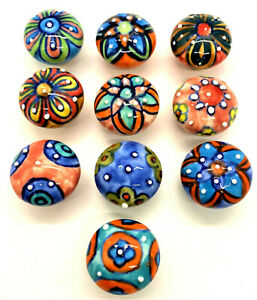Door Knobs Floral Motifs Ceramic Small Knobs All Handmade & Painted 3 x 3 x 4cm