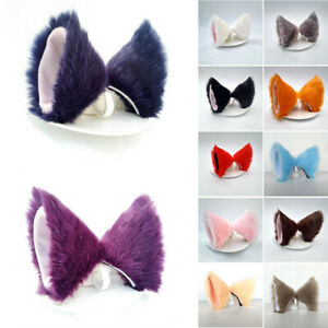 Cat Fox Ears Headband Costume Fur Anime Neko Cosplay Hair Clip Party Cute Sexy