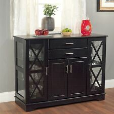 Black Buffet Kitchen Sideboard Wood Table Glass Door Dining Cabinet Storage NEW