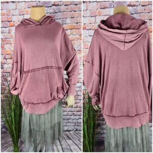 Feinstrick Sweatshirt long Pullover Kapuze Hoodie Oversize Italy BERRY 40 42 44