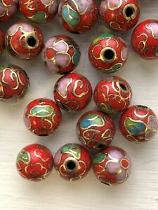 50 8mm Round Vintage Red Cloisonne Beads - 1/2 Drill - Great for Earrings & Pend